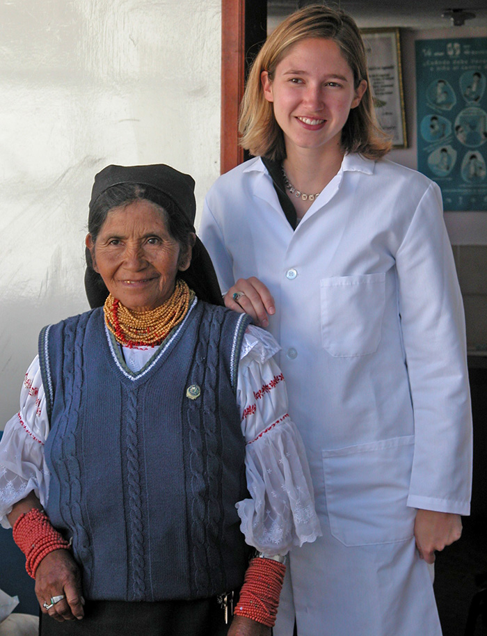 UW medical student poses with woman in San Lucas village
